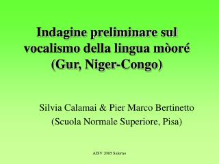 Indagine preliminare sul vocalismo della lingua mòoré (Gur, Niger-Congo)