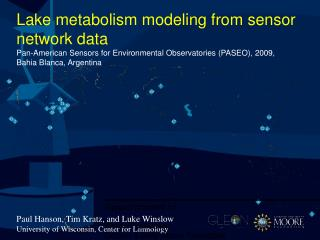 Lake metabolism modeling from sensor network data