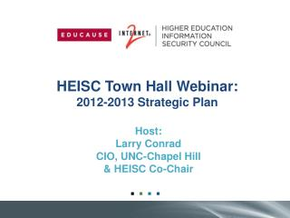 HEISC Town Hall Webinar: 2012-2013 Strategic Plan