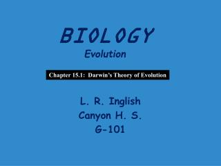 BIOLOGY Evolution
