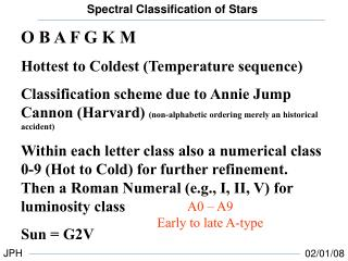 O B A F G K M Hottest to Coldest (Temperature sequence)