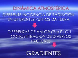 DIFERENZAS DE VALOR (Tª e P) OU CONCENTRACIÓN DE DIVERSOS FACTORES