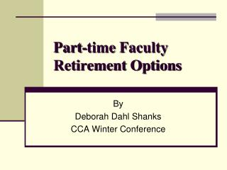 Part-time Faculty  Retirement Options