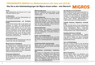 PRESSEMAPPE MIGROS zur Medienkonferenz der Unia vom 30.5.08