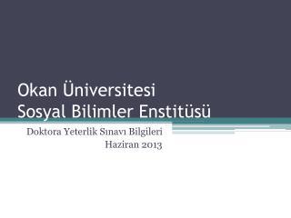 Okan Üniversitesi  Sosyal Bilimler Enstitüsü