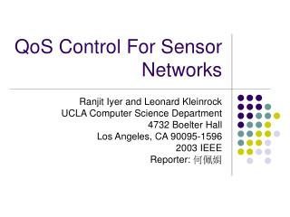 QoS Control For Sensor Networks