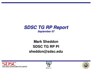 SDSC TG RP Report September 07