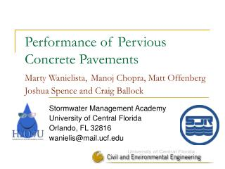 Stormwater Management Academy University of Central Florida Orlando, FL 32816