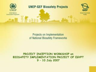 PROJECT INCEPTION WORKSHOP on  BIOSAFETY IMPLEMENTATION PROJECT OF EGYPT    9 – 10 July 2007
