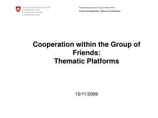Cooperation within the Group of Friends: Thematic Platforms