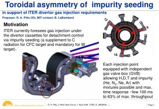 Toroidal asymmetry of  impurity seeding
