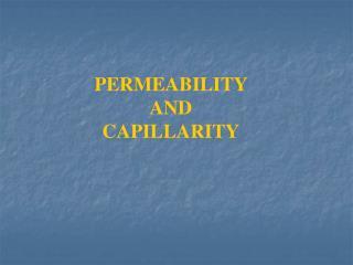 PERMEABILITY  AND  CAPILLARITY