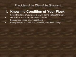 Principles of the Way of the Shepherd