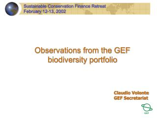 Observations from the GEF biodiversity portfolio