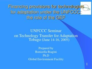 Financing provisions for technologies for adaptation under the UNFCCC:  the role of the GEF