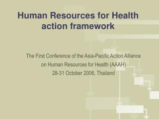 Human Resources for Health action framework
