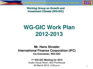 WG-GIC Work Plan 2012-2013