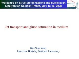 Workshop on Structure of hadrons and nuclei at an Electron Ion Collider, Trento, July 13-18, 2008