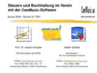 Steuern und Buchhaltung im Verein mit der  ComMusic -Software