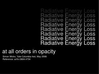 Radiative Energy Loss