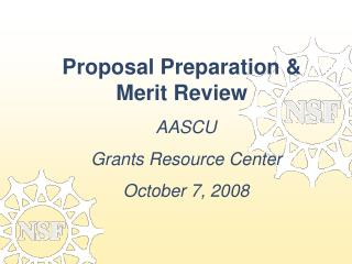 Proposal Preparation & Merit Review
