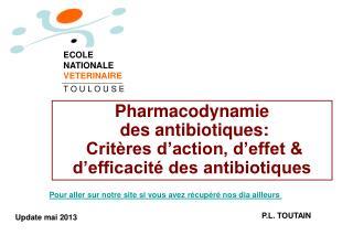 Pharmacodynamie  des antibiotiques:   Critères d'action, d'effet & d'efficacité des antibiotiques