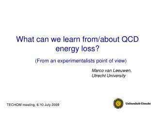 What can we learn from/about QCD energy loss?