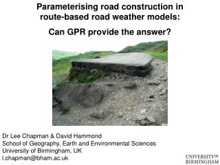 Parameterising road construction in  route-based road weather models: Can GPR provide the answer?