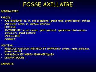 FOSSE AXILLAIRE