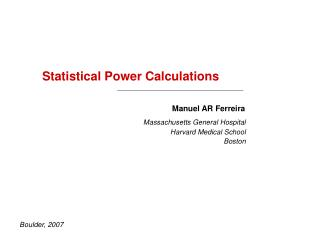 Statistical Power Calculations