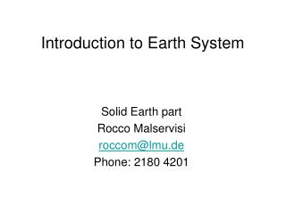 Introduction to Earth System