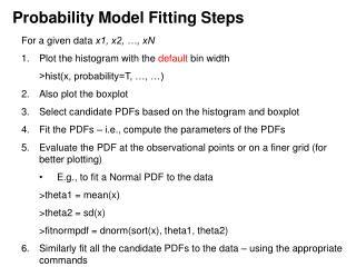 Probability Model Fitting Steps