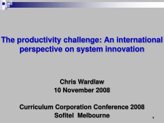 The productivity challenge: An international perspective on system innovation