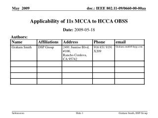 Applicability of 11s MCCA to HCCA OBSS