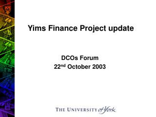 Yims Finance Project update