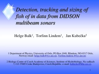 Detection, tracking and sizing of fish of in data from DIDSON  multibeam sonars