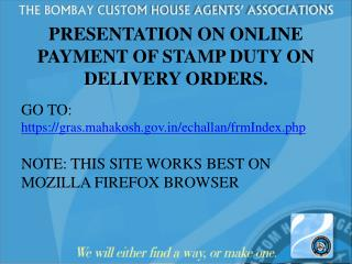 PRESENTATION ON ONLINE PAYMENT OF STAMP DUTY ON DELIVERY ORDERS.