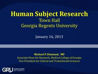 Human Subject Research Town Hall Georgia  Regents University