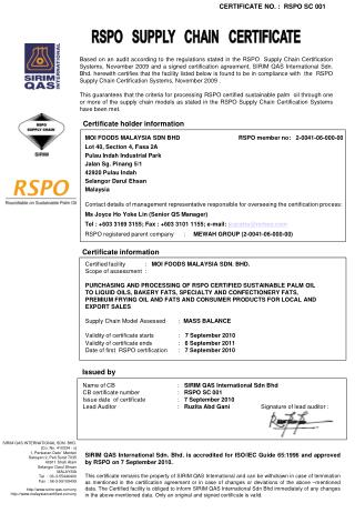 RSPO   SUPPLY   CHAIN   CERTIFICATE