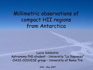 Millimetric observations of compact HII regions  from Antarctica