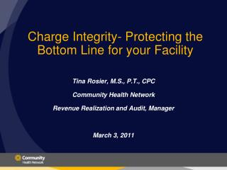 Charge Integrity- Protecting the Bottom Line for your Facility