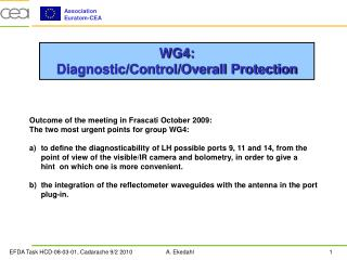 WG4:  Diagnostic/Control/Overall Protection