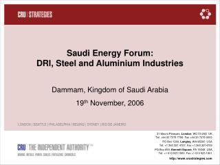 Saudi Energy Forum: DRI, Steel and Aluminium Industries