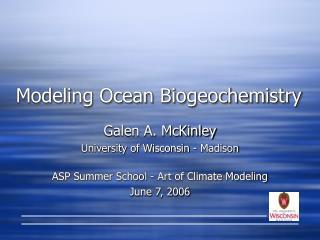 Modeling Ocean Biogeochemistry
