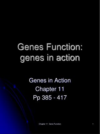 Genes Function: genes in action