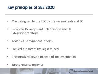 Key principles of SEE 2020