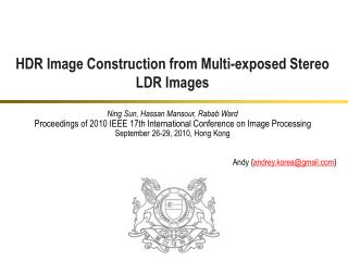 HDR Image Construction from Multi-exposed Stereo LDR Images