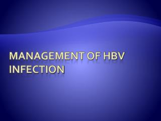 Management of HBV Infection
