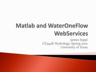 Matlab and WaterOneFlow WebServices