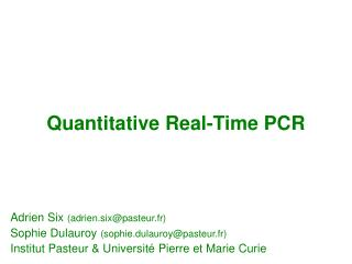 Quantitative Real-Time PCR
